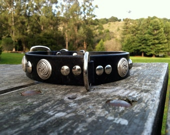 Swirl Celtic Conchos and Large Silver Spots on Black Leather Collar