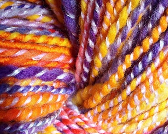 RAINBOW PASSION handspun wool yarn, worsted weight yarn, bulky yarn
