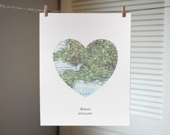 Bristol England Heart Print, UK Map Print, Heart Map Print, Wedding Engagement or Anniversary Gift