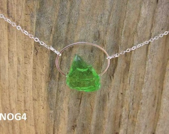 Necklace with green Nova Scotia sea glass mounted on silverplate oval with silverplate chain (NOG4)