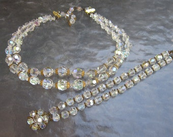 Vintage AB crystal double strand necklace and bracelet set