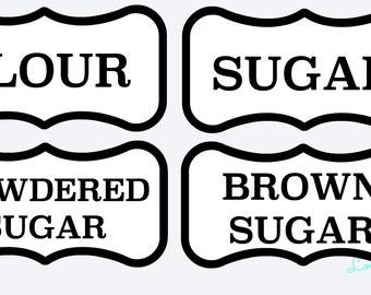 Vinyl Canister Decals-Flour, Sugar, Brown Sugar, Powdered Sugar