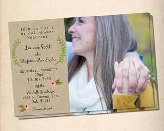Laurel and Pink Bridal Shower Invitation