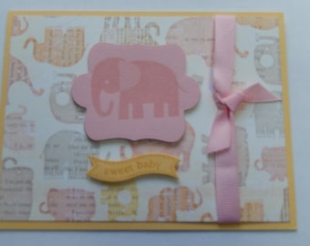 Baby Girl Elephant Card