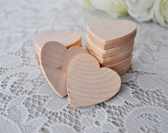 "50 ct Small 1.5 INCH x 1/8"" thick Wood Hearts Natural Wooden Hearts 1/8"" thick Wedding Craft Hearts Centerpieces Favors 1.5"" hearts"