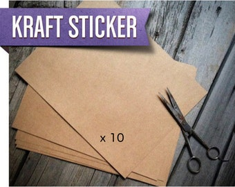 Kraft Paper Labels | Brown Kraft Printable Sticker Paper (Quantity 10) | DIY Labels | Sticker Sheet | Blank Stickers 8.5x11