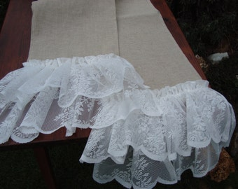 Burlap Table Runner with lace Ruffles Wedding Table Runner in Sizes 10.5''x80''