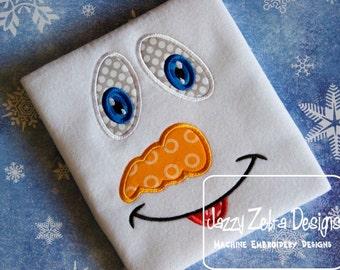 Snowman Face 2 Applique Design