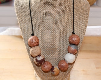 Multicolor tan necklace, Eco Friendly handmade clay beads