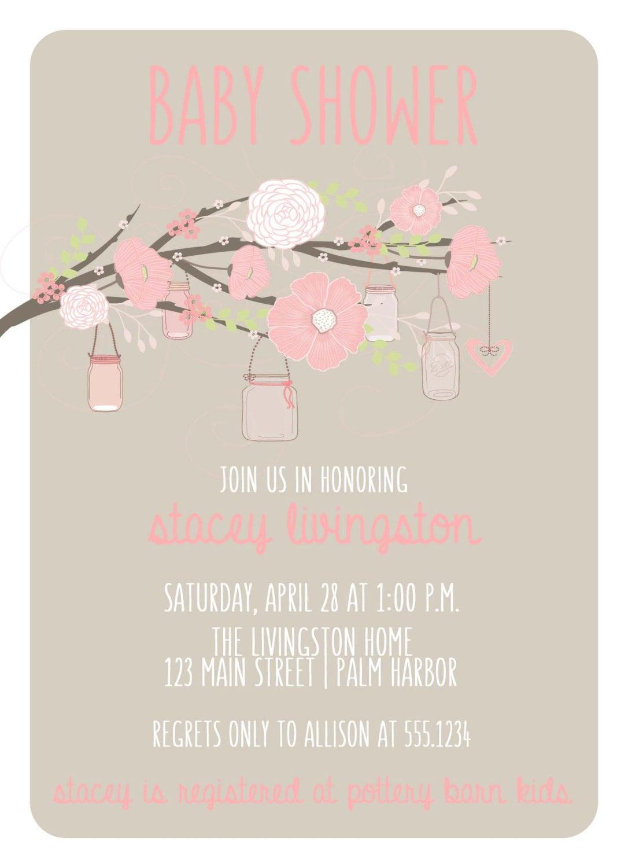 mason jar baby shower invitation, mason jar invitation, rustic, Baby shower