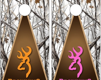 """Browning Deer Hunting Snow Camo Cornhole Decal Wrap """"His and Hers"""""""