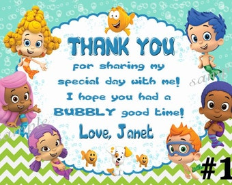 Bubble Guppies Thank You Card / You Print Digital File -  Matches Bubble Guppies Invitation
