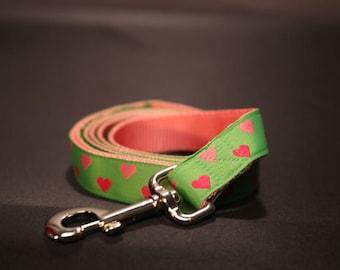 I Heart U 1 Inch Wide Custom Dog Leash