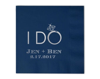 100 Personalized Napkins Printed Custom Monogram Monogrammed Engagement Party Rehearsal Dinner Bridal Shower Wedding Napkins i do I DO