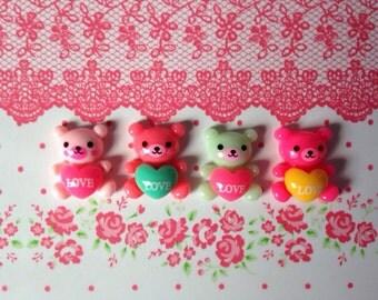 Kawaii Love Bear Cabochons 18mm x 15mm - 4pcs