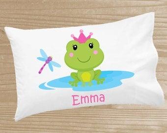 Personalized Kids' Pillowcase - Frog Pillowcase for Girls - Frog Pillow Case - Custom Frog Pillow Slip
