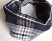 Bib / Drool Bib / Grey Blue Plaid FlannelDrool Scarf with WATERPROOF lining // drool bib // drool scarf // Baby Infinity Scarf