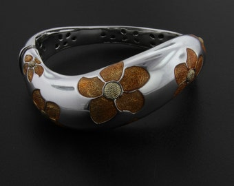 Flli Menegatti Bracelet with Enameled Flowers.