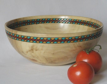 Poplar Bowl with Southwest Decor