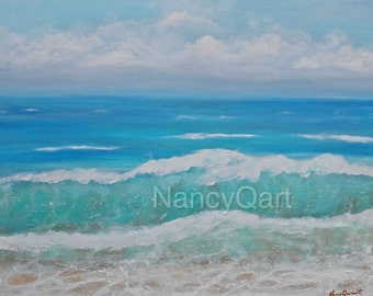 Ocean artwork - Beach art - Seascape painting - Original art on giclee print by Nancy Quiaoit at NancyQart