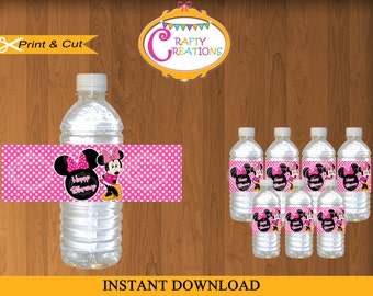 Pink Minnie Mouse Water Bottle Labels - Printable Minnie Mouse Water Bottle Wrappers -Waterbottle Wraps- INSTANT DOWNLOAD-CraftyCreationsUAE