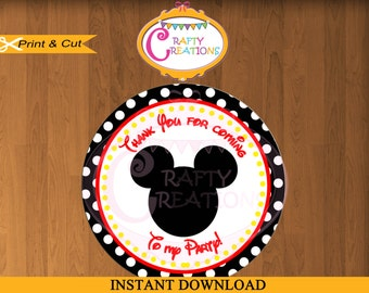 INSTANT DOWNLOAD - Mickey Mouse BLACK Favor Tags - Sticker- Party Tags- Thank You Tags- Gift Tags- Birthday -Printable- CraftyCrearionsUAE