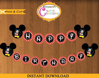INSTANT DOWNLOAD - Mickey Mouse Banner - Printable Happy Birthday Mickey Banner -Red- Party Decoration- Disney Printable -CraftyCreationsUAE