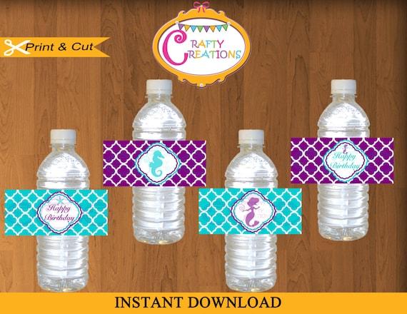 Little Mermaid Birthday Water Bottle Labels-Printable