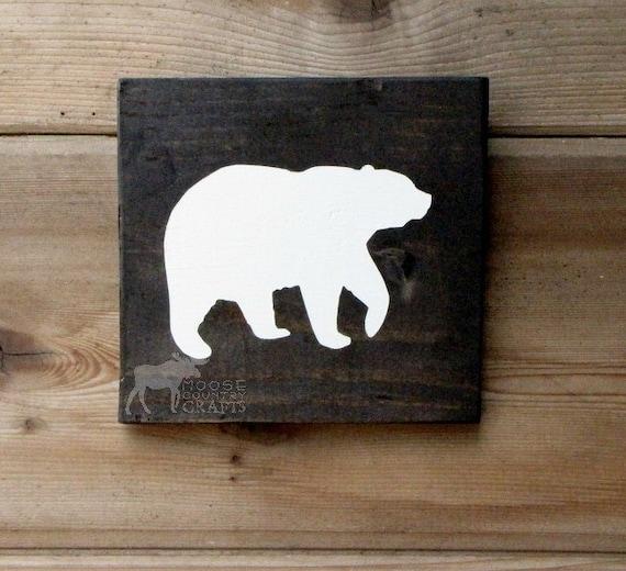 Rustic Nursery Wall Decor : Items similar to rustic wood bear wall art pine