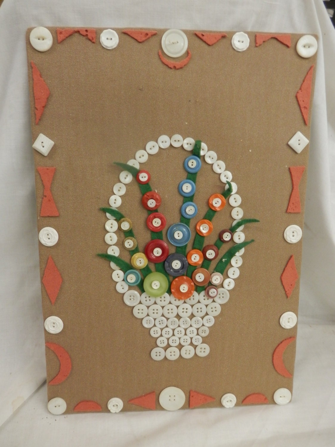 Vintage Handmade Button Art Basket Of Flowers 1970s Craft Wall