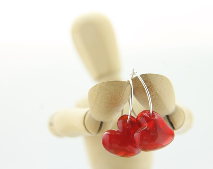 Tomato Red Earrings, hand made with glass and sterling silver, lamp work bead by Destellos - Glass Art & Accessories, READY TO SHIP