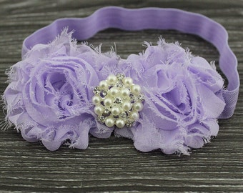 Light Purple Shabby Chic Headband With A Pearl Embellishment .. Comes in Other Colors!!!