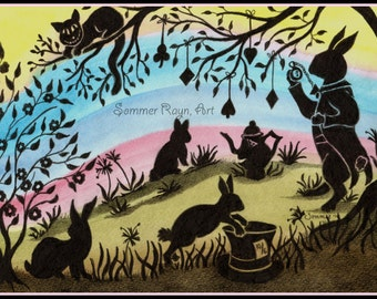 Easter White Rabbit portrait,  colorful silhouette card or print, Watercolor, Item #0142a
