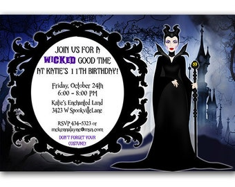 Maleficent Birthday Party Invitation Digital File or Printed FREE SHIPPING