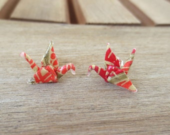 origami jewelry, origami earring, origami crane studs, cute earring studs, red earrings, tiny earrings, tiny studs, paper earring, asian
