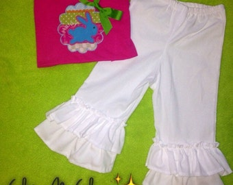 Girls Easter Ruffle Pants Outfit