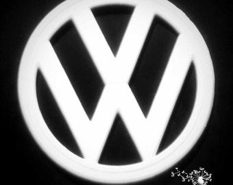 VW Emblem, Photograph, Classic Car Photography, Volkswagen Photo, 5x5 Photo, Photographic Art, Car Art, Wall Art, Home Decor, Garage