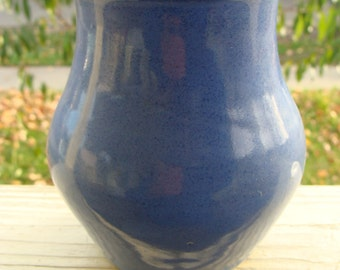 Vintage or Antique American Folk Art Redware Clay Hand Thrown Vase Pennsylvania Pottery w/ Blue Glaze