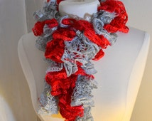 Team Color Red and Gray Women's Ruffle Sashay Scarf