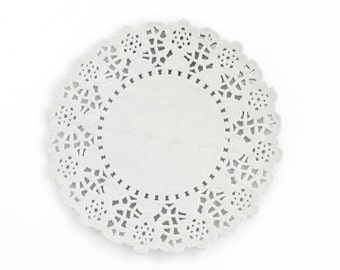 GREY PAPER DOILIES (Set of 20) - Light Grey Paper Doily / Doilies (11.5cm Diameter)