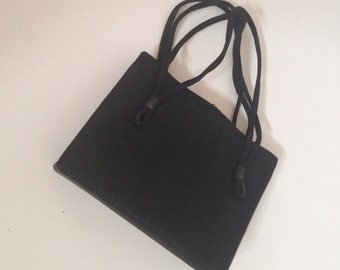Vintage Black Satin Handbag from the Forties, Evening Bag, Purse