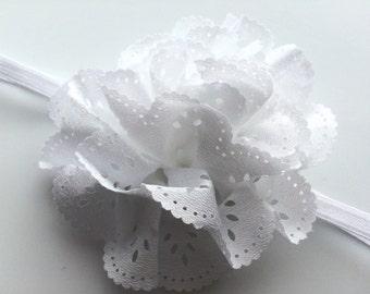 White Flower Infant Headband - Newborn Head Band for Easter - Headband Photo Prop for Newborn - Eyelet Flower Headband for Baptism Baby Gift
