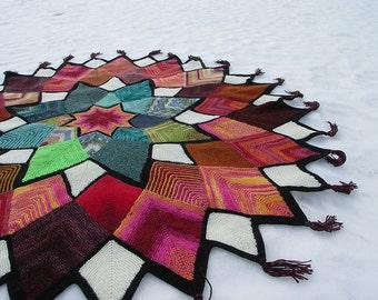 Domino Star Stashbuster Afghan pattern by Anita Grahn, instant download, stashbuster, fingering blanket, mitered square knitting pattern