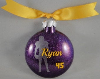 10 personalized glass football player Christmas ornaments - Handmade with custom team colors and name