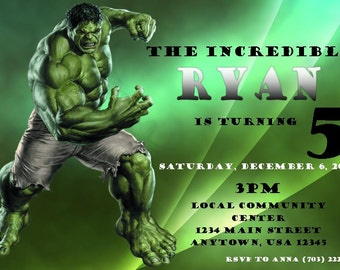 Incredible Hulk Printable Invitation
