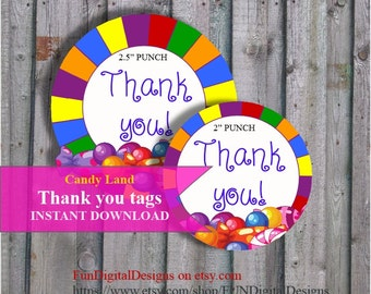 Thank you tags Land of Candy Birthday Party Favor, Candy Land thank you gift  Candy Party, PRINTABLE Digital