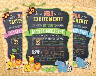 Zoo, Jungle, Safari Animals Baby Shower Invitation - Customizable - Printable - DIY