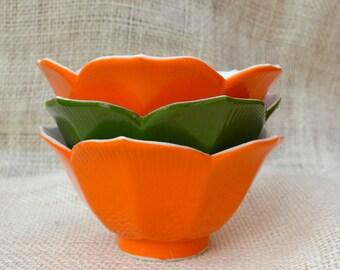 Orange and Green Lotus Bowls // Vintage lotus bowls set of 3 // small dessert bowls