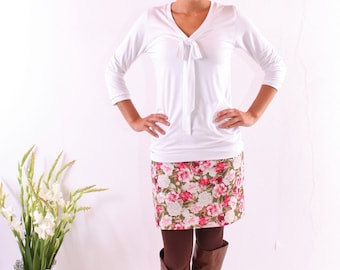 """Mini skirt """"Manfred"""" green with roses"""