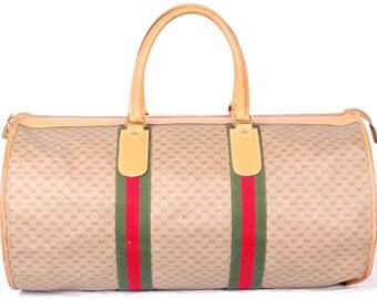 Rare Auth Gucci Canvas travel bag 55.